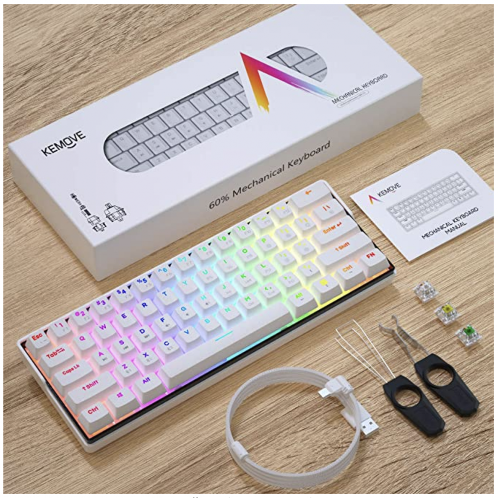 Kemove mechanical keyboard package on Amazon. Package includes keyboard, tools to take of keycaps, usb charger and switches.